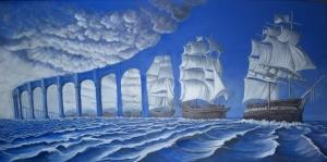 Rob Gonsalves, Yelken Açan, Gün Batımı, The Sun Sets Sail Sürrealizm Klasik Sanat Kanvas Tablo