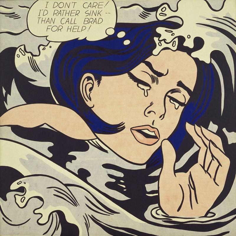 Roy Lichtenstein Aglayan Kiz Yagli Boya Klasik Sanat Kanvas Tablo