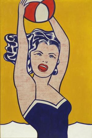 Roy Lichtenstein Topla Oynayan Kiz Yagli Boya Klasik Sanat Kanvas Tablo