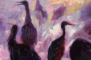 Sabah Kuşları Yağlı Boya Sanat Kanvas Tablo