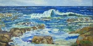 Sahil Hırçın Dalgalar Yağlı Boya Sanat Kanvas Tablo