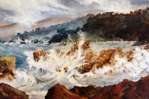 Sahil, Kayıklar, Hırçın Dalgalar Yağlı Boya Dekoratif Kanvas Tablo