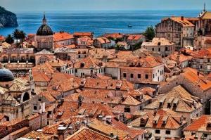 Sahil Kızıl Çatılar Şehir Manzaraları Kanvas Tablo