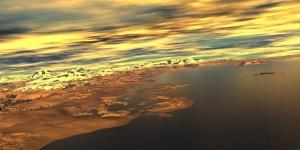 Sahilde Gün Batımı Deniz Doğa Manzaraları Kanvas Tablo