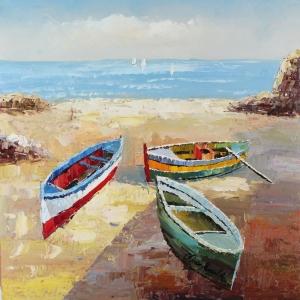 Sahildeki Renkli Kayıklar 4 Deniz Kıyısı Dekoratif Kanvas Tablo