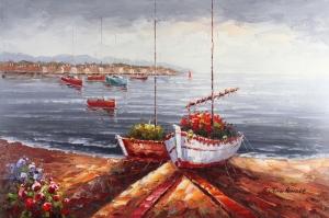 Sahildeki Renkli Kayıklar 6, Deniz Kıyısı Yağlı Boya Sanat Kanvas