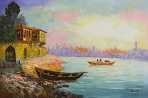 Sahildeki Renkli Kayıklar, Deniz 7 Yağlı Boya Dekoratif Kanvas Tablo