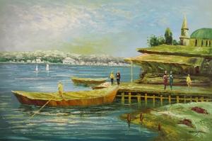 Sahildeki Renkli Kayıklar, Deniz 8 Yağlı Boya Dekoratif Kanvas Tablo