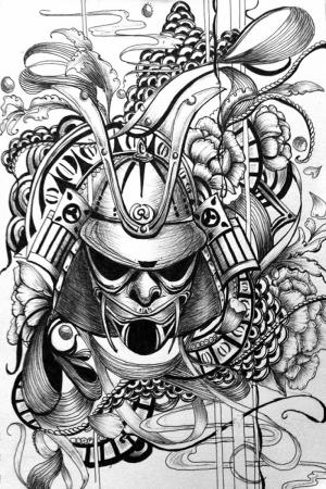 Samuray Savaşçı Maskesi-83 Japonya Modern Sanat Kanvas Tablo