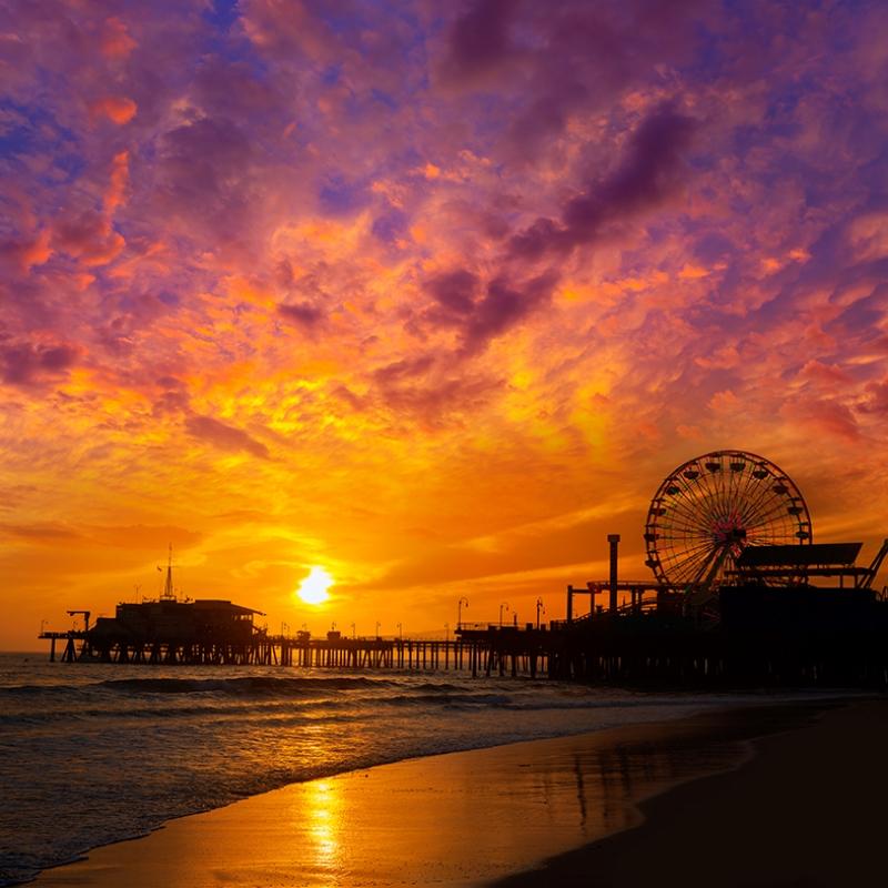 Santa Monica Gün Batımı Dünyaca Ünlü Şehirler Kanvas Tablo