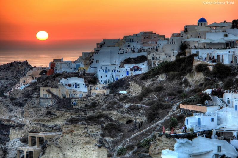 Santorini Gün Batımı Ada Manzarası  Renkli Evler Yunanistan Şehir Manzaraları Kanvas Tablo