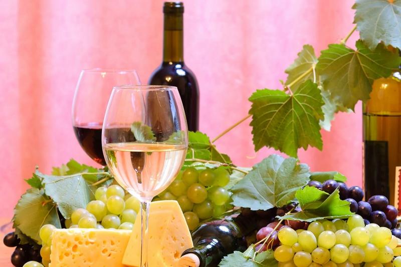 Şarap Üzüm ve Peynir 3 Lezzetler Kanvas Tablo