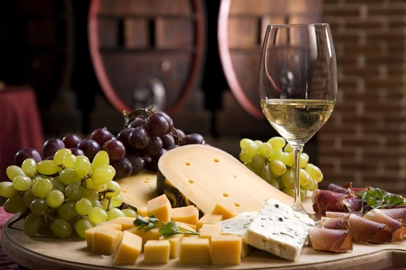 Şarap Üzüm ve Peynir 4 Lezzetler Kanvas Tablo
