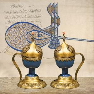 Saray Kadehleri ve Tuğra Osmanlı ve İslami Exclusive Kanvas Tablo