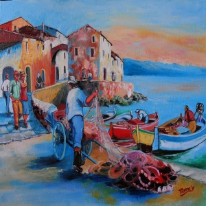 Sardenya Reti Köy Evleri İtalya 1 Dekoratif   Kanvas Tablo