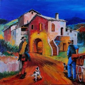 Sardenya Reti Koy Evleri İtalya 2 Dekoratif Kanvas Tablo
