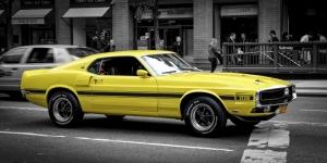 Sarı Ford Mustang 1967 Model Klasik Otomobil Araçlar Kanvas Tablo