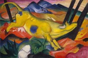 Sarı İnek, Franz Marc La Vaca Amarilla-1911 Reprodüksiyon Kanvas-tablo