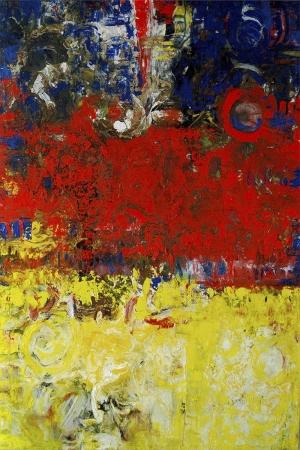 Sarı Kırmızı Abstract Kanvas Tablo