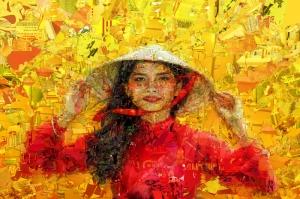 Sarı Kırmızı Çiçekler Mozaik İllustrasyon Kanvas Tablo