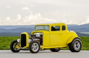 Sarı Klasik Hot Road Otomobil Araçlar Kanvas Tablo