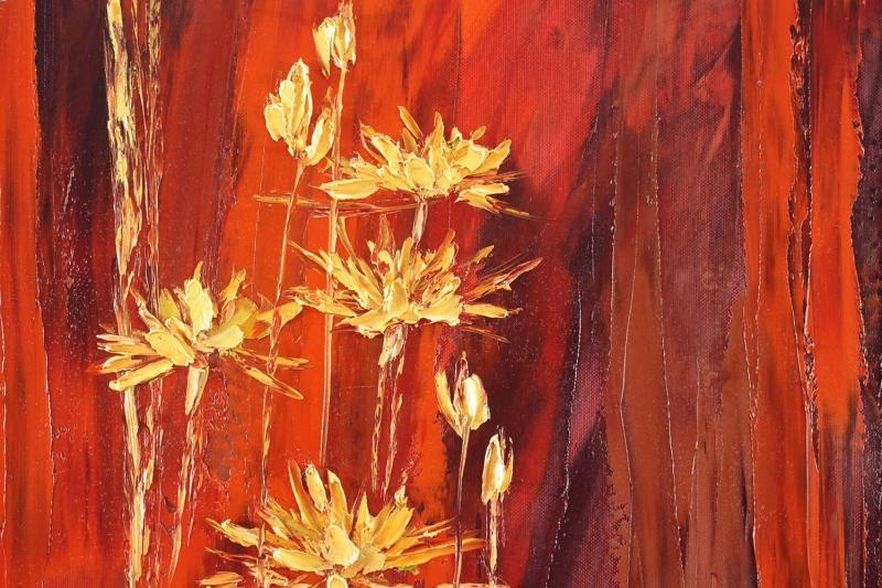 Sarı Papatya Yağlı Boya Floral, Dekoratif Kanvas Tablo