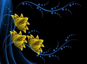 Sarı ve Mavi Çiçekler Abstract Dijital ve Fantastik Kanvas Tablo