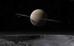 Saturn ve Gezegen Yüzeyi Dünya & Uzay Kanvas Tablo