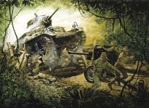 Savaş Asker Askeri Tank Piyade Orman Kanvas Tablo