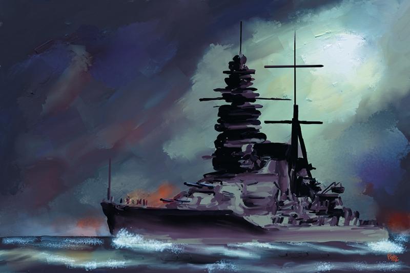 Savaş Gemisi Yağlı Boya Sanat Kanvas Tablo