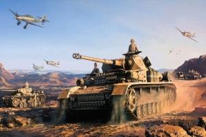 Savas Ucaklari ve Tanklar Yagli Boya Sanat Kanvas Tablo