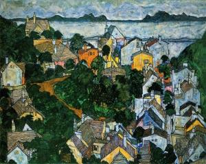 Schiele Sommerlandschaft Yağlı Boya Sanat Kanvas Tablo