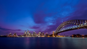 Sdney Gün Batımı Şehir Manzarası Dünyaca Ünlü Şehirler Kanvas Tablo