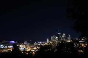 Seattle Gece Dünyaca Ünlü Şehirler Kanvas Tablo