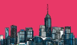 Şehir Çizim İllustrasyon Popüler Kültür Kanvas Tablo