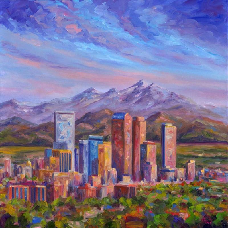 Şehir Dağ Manzarası Dekoratif Kanvas Tablo