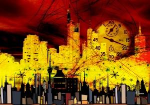 Şehir Dijital ve Fantastik Kanvas Tablo