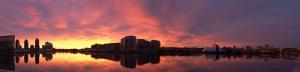 Şehir Gün Batımı 2 Panaroma Panaromik Manzara Kanvas Tablo