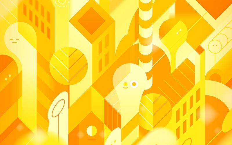 Şehir İllustrasyon Soyut Dijital ve Fantastik Kanvas Tablo