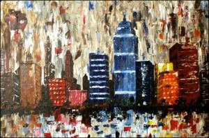 Şehir Manzaraları, Akşam Işıkları 2 Yağlı Boya Dekoratif Modern Kanvas Tablo