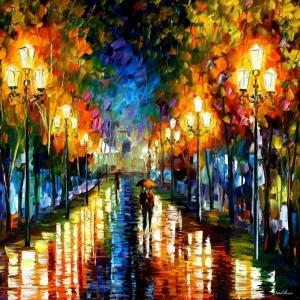 Şehir Manzaraları Aksam Işıkları Afremov 1 Dekoratif Kanvas Tablo