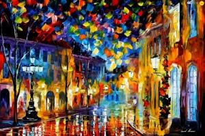 Şehir Manzaraları, Akşam Işıkları, Afremov 10 Yağlı Boya Dekoratif Modern Kanvas Tablo