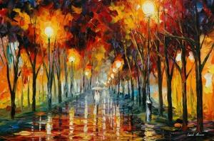Şehir Manzaraları, Akşam Işıkları, Afremov 11 Yağlı Boya Dekoratif Modern Kanvas Tablo