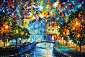Şehir Manzaraları, Akşam Işıkları, Afremov 13 Yağlı Boya Dekoratif Modern Kanvas Tablo