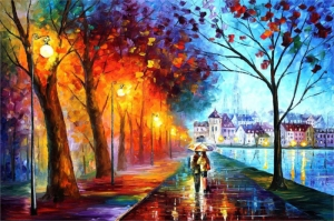 Şehir Manzaraları, Akşam Işıkları, Afremov 2 Yağlı Boya Dekoratif Modern Kanvas Tablo