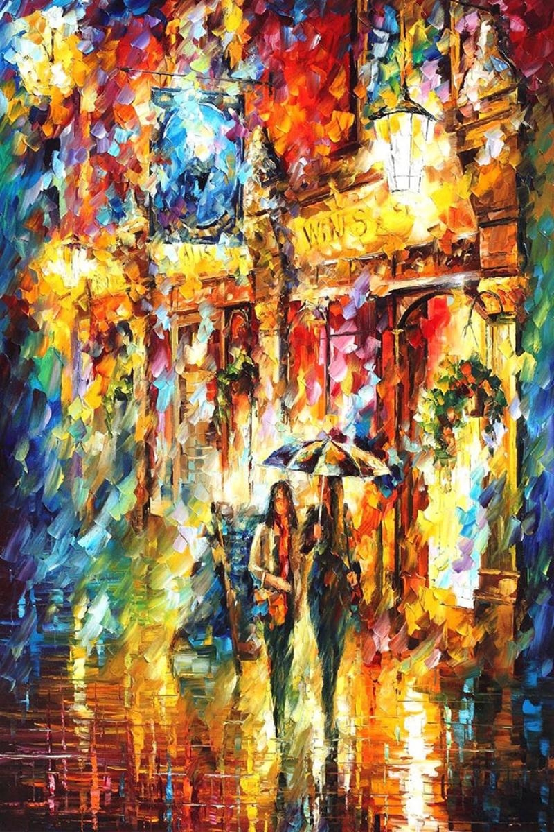 Şehir Manzaraları, Akşam Işıkları, Afremov 22 Yağlı Boya Dekoratif Modern Kanvas Tablo