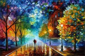 Şehir Manzaraları, Akşam Işıkları, Afremov 3 Yağlı Boya Dekoratif Modern Kanvas Tablo