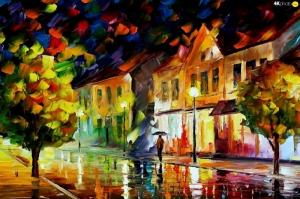 Şehir Manzaraları, Akşam Işıkları, Afremov 4 Yağlı Boya Dekoratif Modern Kanvas Tablo