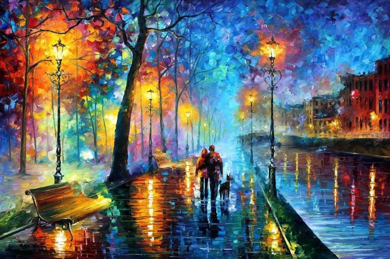 Şehir Manzaraları, Akşam Işıkları, Afremov 7 Yağlı Boya Dekoratif Modern Kanvas Tablo