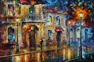 Şehir Manzaraları, Akşam Işıkları, Afremov 8 Yağlı Boya Dekoratif Modern Kanvas Tablo